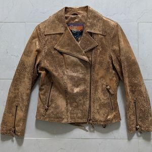 Gold and Tan Moto Leather Jacket Cripple Creek